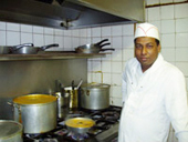 Indian chefs with restaurant menu
